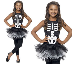 Girls Tutu Skeleton Costume Halloween Fancy Dress Outfit New Kids