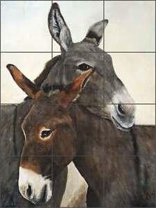 Ceramic-Tile-Mural-Backsplash-Winkler-Southwest-Donkey-Animal-Art-RW-KW011