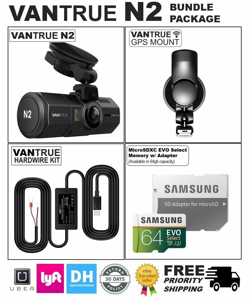 s-l1600 VANTRUE N2 64GB BUNDLE PACKAGE: Dual Dash Cam, GPS, Hardwire Kit, Samsung SDXC