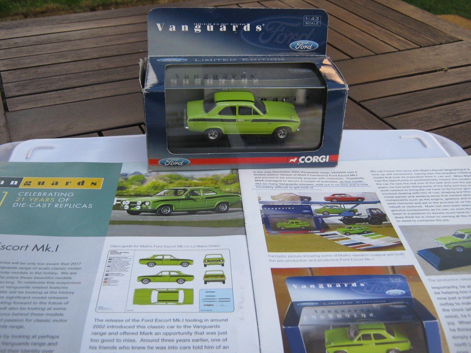 Vangaurds va 09505 RARA Ford Escort Messico LE MANS Verde N. 3005/3510 rilasciato
