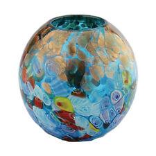 """New 6"""" Hand Blown Glass Art Vase Blue Italian Millefiori Multicolor Decorative"""