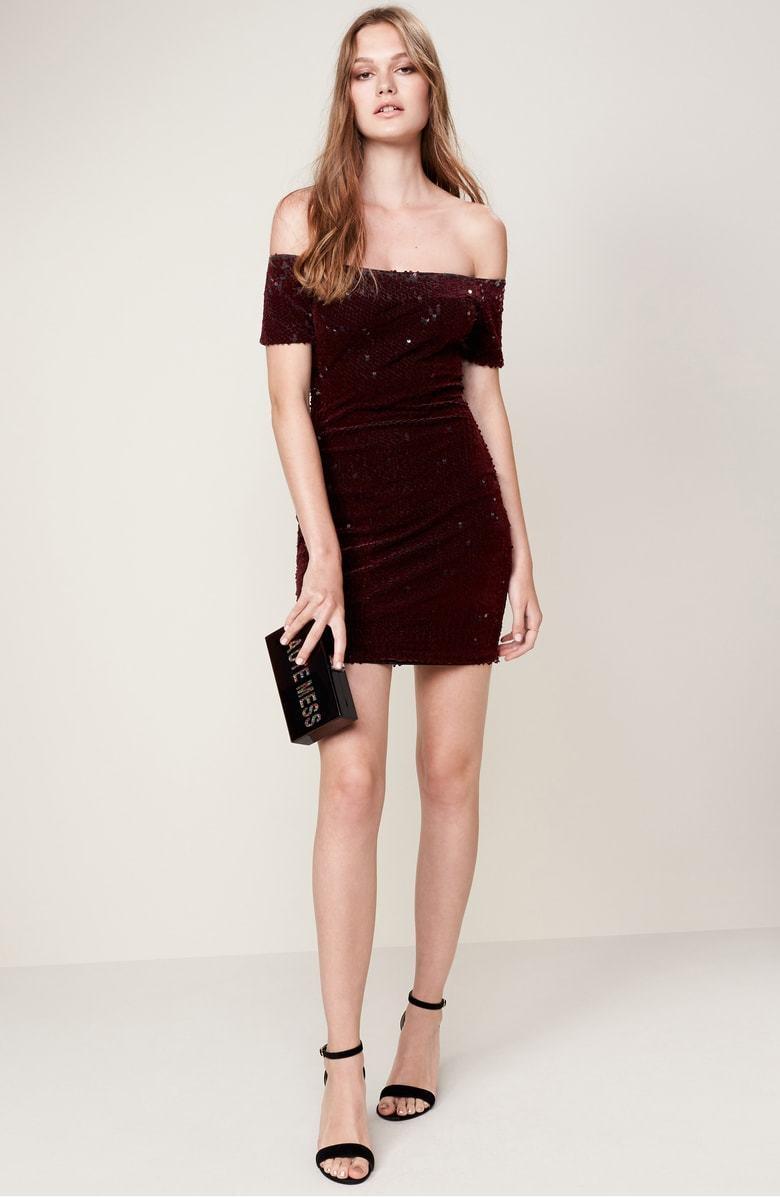 NEW Dress the Population Larissa Sequin Off the Shoulder Dress Burgundy XL  195