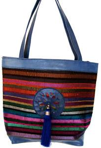 Moroccan-Genuine-Leather-Fabric-Handbag-Handmade-Purse-Women-Tote-Bag-Blue