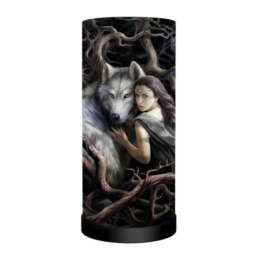 WOLF DESIGN TABLE LAMP  /'SOUL BOND/'  ~ ANNE STOKES DESIGN ~ SEE PICS NEW!