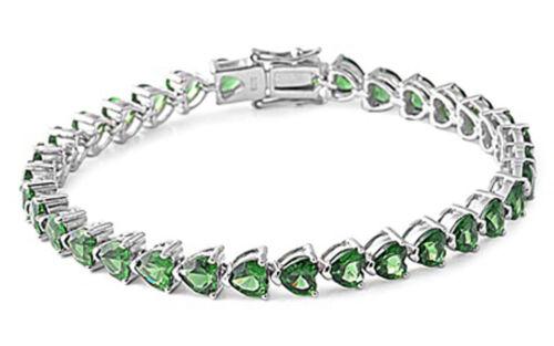 Heart Tennis Eternity Bracelet Simulated Emerald .925 Sterling Silver