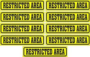 LOT-OF-9-GLOSSY-STICKERS-RESTRICTED-AREA-FOR-INDOOR-OR-OUTDOOR-USE
