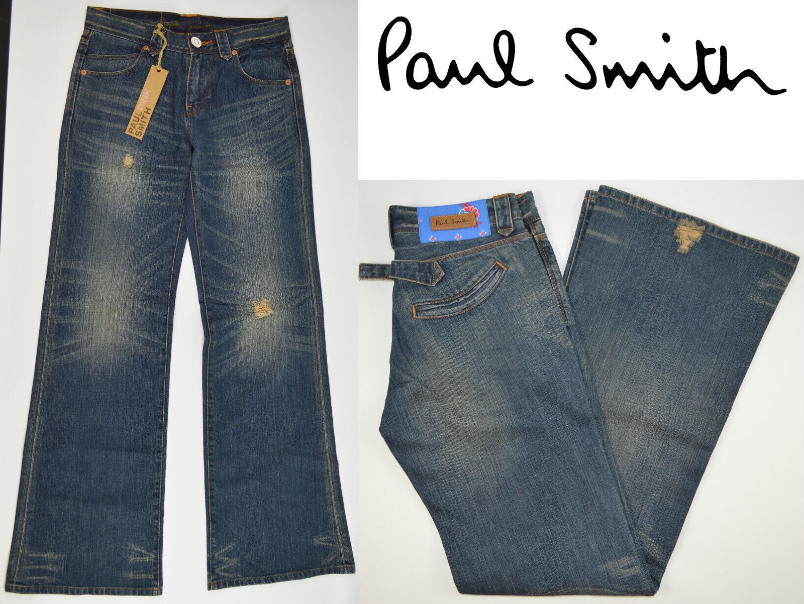 Damen Paul Smith Jeans Vintage Blau Neu mit Etikett Stiefelcut Schlaghose Blume