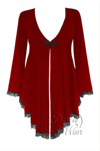 Plus Size Embrace Corset Sweater Duster Jacket in Red Ruby Rune 1X 2X 3X 4X 5X