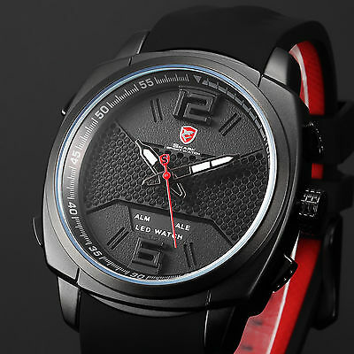 Shark Men's LED Digital Quartz Silicone Alarm Date Sport Wrist Watch