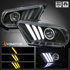 Fits 2010 2014 Ford Mustang Black Projector Headlights Sequential Led Signal Drl Fits Mustang