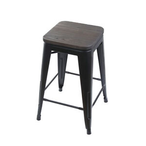 Astonishing Details About 24 Backless Black Metal Bar Stool Kitchen Chairs With Wooden Seat Ibusinesslaw Wood Chair Design Ideas Ibusinesslaworg