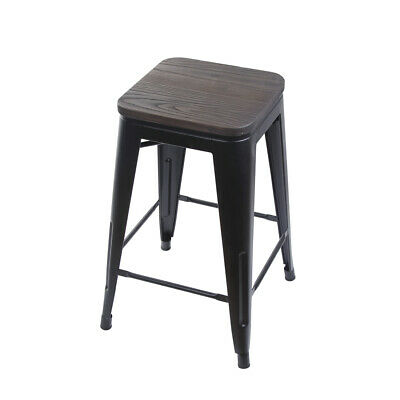 Groovy 24 Backless Black Metal Bar Stool Kitchen Chairs With Wooden Seat Ebay Gmtry Best Dining Table And Chair Ideas Images Gmtryco