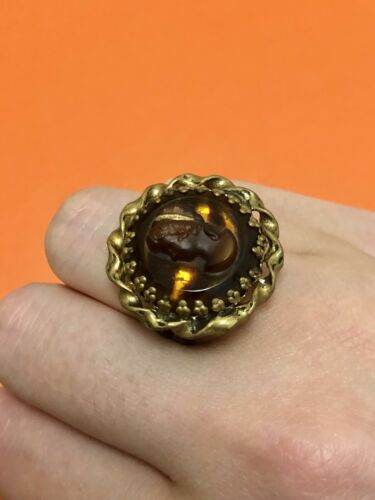 West Germany Antiqued Brass Amber Cameo Adjustable Cocktail Ring