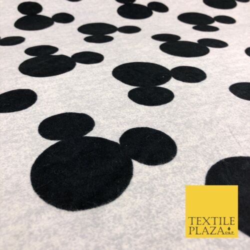 Grey Black Disney Mickey Mouse Winceyette Soft Brushed Cotton Print Fabric 1284