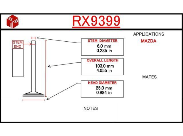 Engine Exhaust Valve Itm Rx9399 Fits 90
