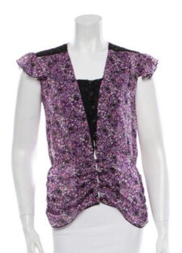 Anna Sui Silk Top, Small,Size Purple