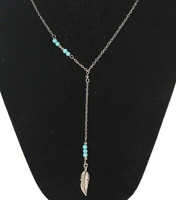 long necklace Bohemian silver feather turquoise beads Gift Friend Loved One