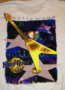 Hard-Rock-Cafe-HOLLYWOOD-2000s-White-034-Heavy-Tee-034-City-T-SHIRT-Men-039-s-LARGE-Lg-New