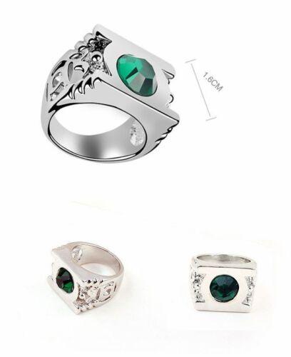 Plaqué Platine Green Lantern Ring avec Austrian Crystal