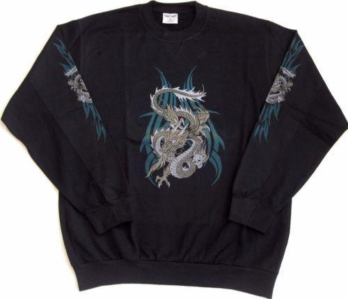 Herren Biker Shirt Gothic Sweatshirt Drachenmotiv Ärmeldruck black M,XL