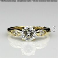 Genuine 1.96CT Off White Yellow Moissanite Ring Wedding Ring 925 Silver Ring A07