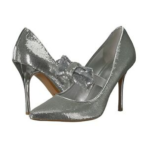 Michael-Kors-Silver-Sequin-Mary-Jane-Bow-Paris-High-Heel-Pumps-7-NIB