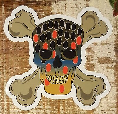 BROWN TROUT Skull /& Crossbones Stickers Decals fly fishing rods flies