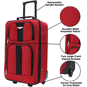 Travel-Select-21-034-Rolling-Carry-On-Suitcase-Durable-Polyester-amp-In-Line-Wheels