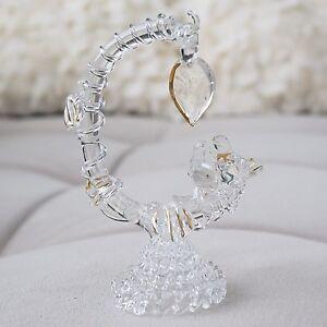 Beautiful-Vintage-Two-Birds-amp-Tree-Branch-Figurine-Hand-Blown-Glass-Lovebirds