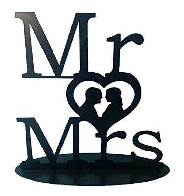 Brautpaar Hochzeitspaar Cake Topper Tortenaufsatz Metall Mr & Mrs Schwarz 31612