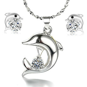 925-Silver-Crystal-Dolphin-Pendant-Necklace-Earrings-Set-Women-Fashion-Jewelry