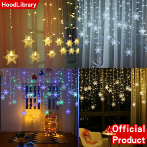 Christmas Snowflake LED String Fairy Lights Outdoor Hanging Icicle Curtain Light