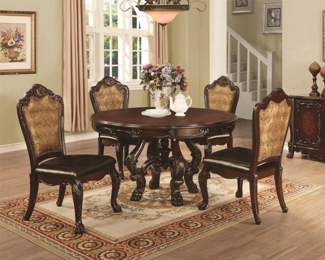 Formal Traditional Dark Cherry 5Pc Dining Set Round Table Chair Dining Room Home