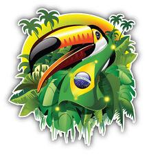 Toco Toucan Brazil Flag Car Bumper Sticker Decal 5'' x 5''