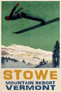 Image Is Loading Man Downhill Skiing Ski Jumping Stowe Vermont Mountain