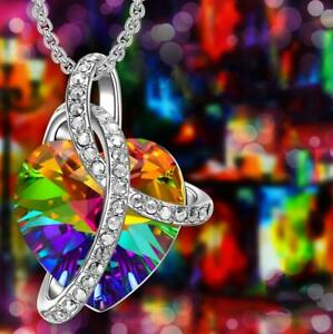 Details about 18K Gold Plated Rainbow Heart Crystal Necklace Made with  Swarovski Elements