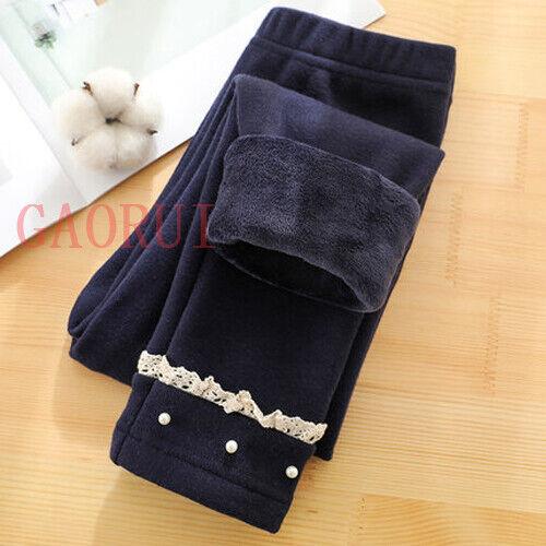 Kids Girls Stretch Cotton Warm Leggings Fleece Lined Pant Winter Thermal Trouser