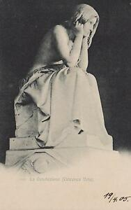 1905-VINTAGE-SCULPTURE-POSTCARD-THE-DESOLATION-by-VINCENZO-VELA-La-Desolazione