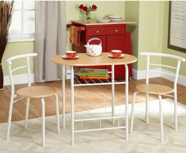 Bistro Set Indoor Table Chairs 3 Piece Kitchen Metal And Wood Stylish Oval White Ebay