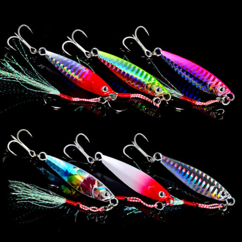 6pcs Jigging Lead Fish Stainless Fishing Lure Jig Hard Baits Tackle Accessory