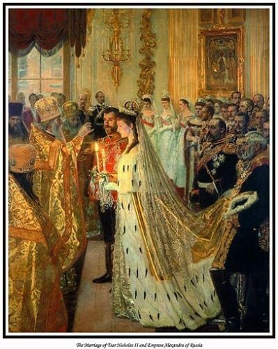 MARRIAGE OF TSAR NICHOLAS II /& ALEXANDRA PRINT.NOW AVAILABLE AS CANVAS PRINT,TOO
