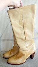 Vtg FRYE Sz 9 Light Beige Leather Knee High Stacked Wood Heel Boots