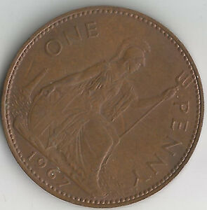 the very last 1967 british one penny coin good definition. Black Bedroom Furniture Sets. Home Design Ideas