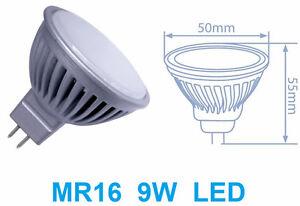 Faretto-LED-MR16-luce-bianca-9W-90W-bianco-freddo-caldo-lampadina-MR-16-opaco