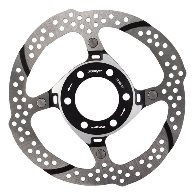2 Piece Silver and Black TRP 33 140mm Heat Dispersion 6-Bolt Disc Brake Rotor