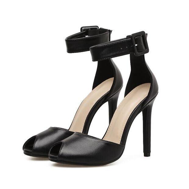 Sandali eleganti sabot stiletto 12 cm tacco nero simil pelle eleganti 9887