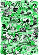 A4 Size JDM Style GREEN Tint Vinyl Sticker Bomb Sheet Drift Ratlook UK Made