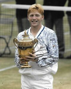 boris becker holding wimbledon trophy signed 10x8 photo