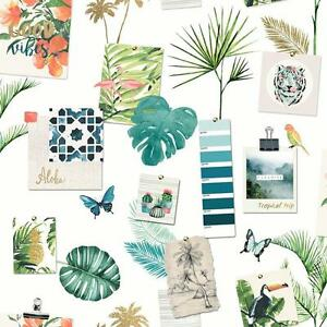 Muriva Tropical Humeur Motif Feuille Papier Peint Oiseau Papillon Ebay