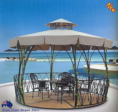 Outdoor Garden Pavilion Gazebo Alloy Frame BBQ Oven Table Chair Ice Bucket Set